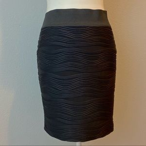 Maurices • Black Wave Textured Pencil Skirt